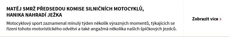 Matěj Smrž předsedou Komise silničních motocyklů, Hanika nahradí Ježka