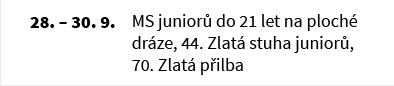 MS juniorů do 21 let na ploché dráze, 44. Zlatá stuha juniorů, 70. Zlatá přilba