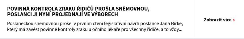 Povinná kontrola zraku řidičů prošla sněmovnou, poslanci ji nyní projednají ve výborech