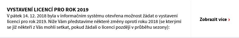 Vystavení licencí pro rok 2019
