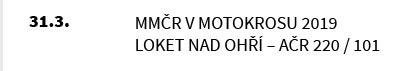 MMČR V MOTOKROSU 2019 LOKET NAD OHŘÍ – AČR 220 / 101