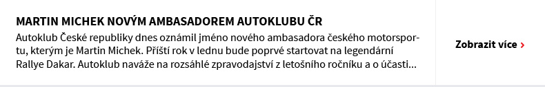 Martin Michek novým ambasadorem Autoklubu ČR