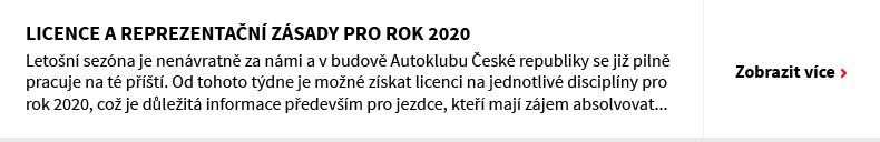 Licence a reprezentační zásady pro rok 2020